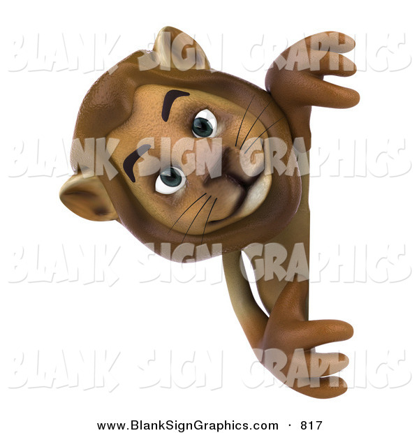 Vector Illustration of a Curious Lion Character Looking Around a Blank Sign