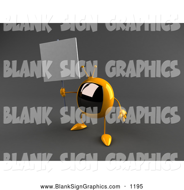 Vector Illustration of a Cute 3d Yellow Square Tele Character Holding up a Blank Sign