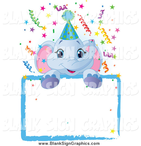 Vector Illustration of a Cute Blue Elephant Wearing a Party Hat, Looking over a Blank Starry Sign with Colorful Confetti