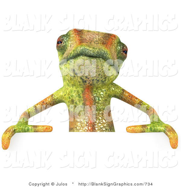 Vector Illustration of a Cute Chameleon Lizard Character Standing Behind a Blank Sign