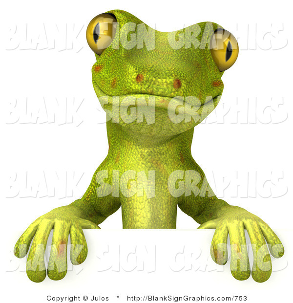 Vector Illustration of a Cute Green Gecko Character Standing Behind a Blank Sign