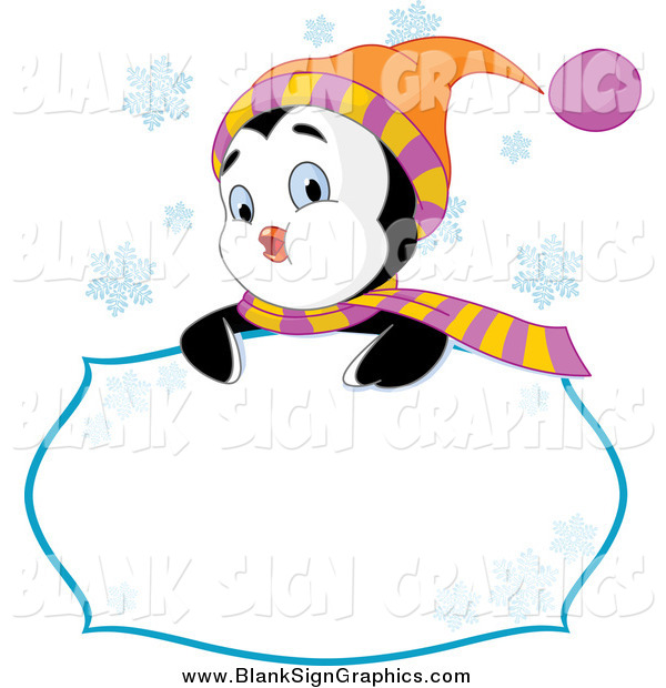 Vector Illustration of a Cute Winter Penguin Looking over a Sign with Snowflakes