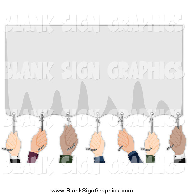 Vector Illustration of a Diverse Hands Pulling down a Blank Banner