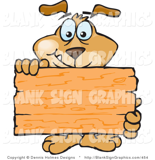 Vector Illustration of a Dog Holding up a Blank Wooden Sign