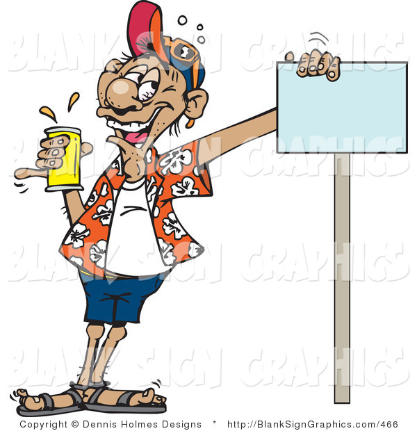 Vector Illustration of a Drunk Man Holding a Can of Beer and Leaning on a Blank Sign