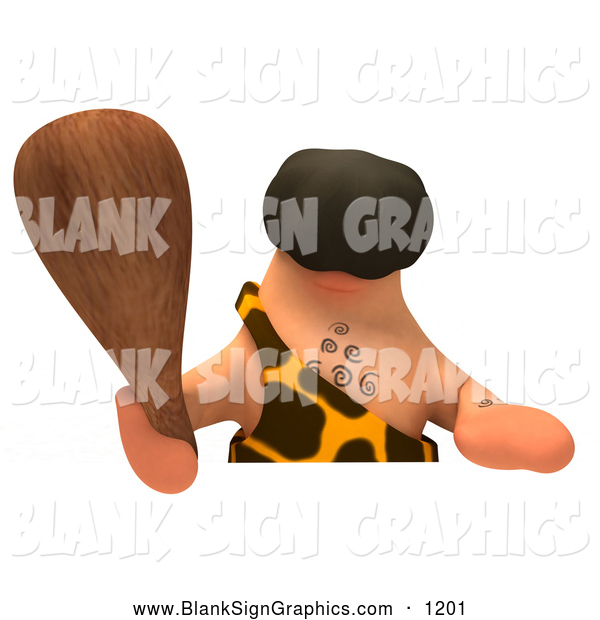 Vector Illustration of a Faceless 3d Caveman Character Holding a Club over a Blank Sign