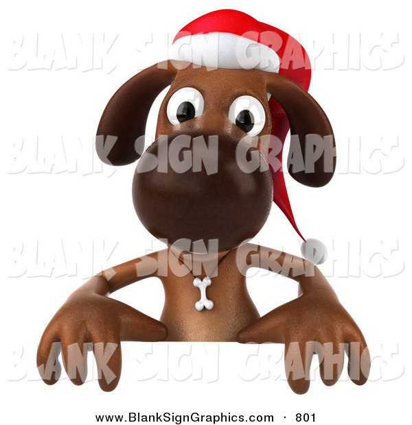 Vector Illustration of a Festive 3d Brown Christmas Dog Character Behind a Blank Sign