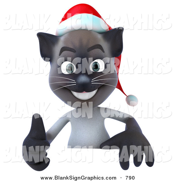 Vector Illustration of a Festive Christmas Siamese Pussy Cat Character Giving the Thumbs up and Standing Behind a Blank Sign
