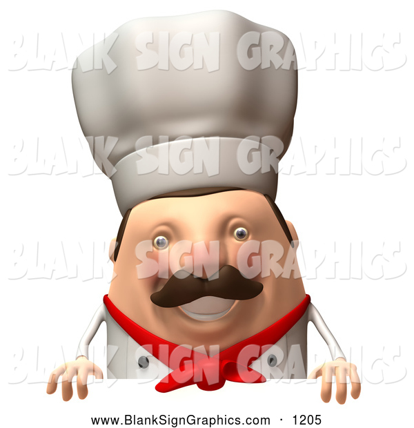 Vector Illustration of a Friendly 3d Chubby Chef Steve Character Standing Behind a Blank Sign