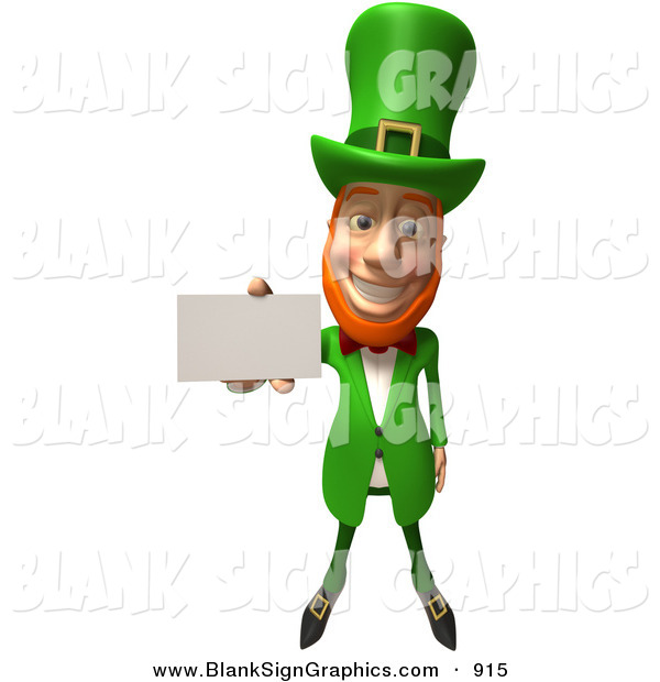 Vector Illustration of a Friendly 3d Irish Leprechaun Man Character Holding out a Blank Business Card - Version 1