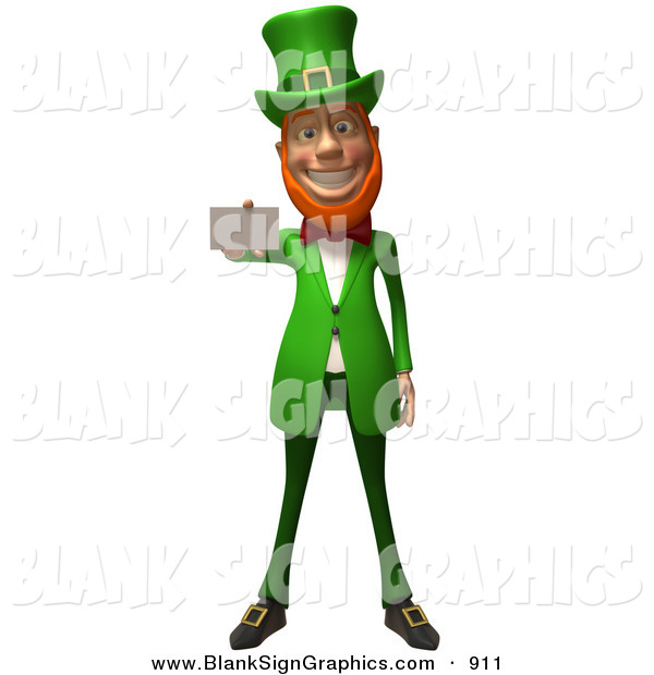 Vector Illustration of a Friendly 3d Leprechaun Person Character Holding out a Blank Business Card - Version 2