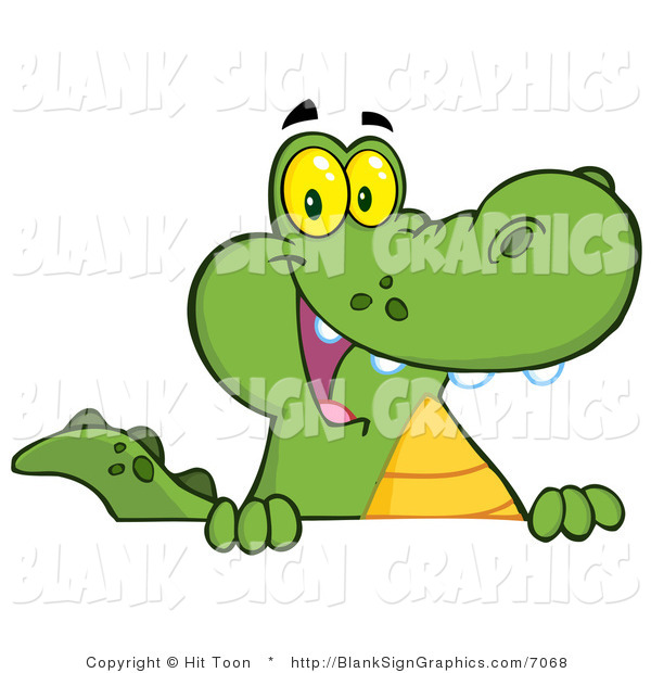 Vector Illustration of a Friendly Alligator Smiling over a Blank Sign Board