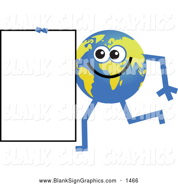 Vector Illustration of a Friendly Global Character Carrying a Blank Sign