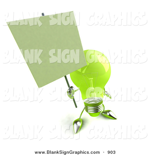 Vector Illustration of a Friendly Green Glass Light Bulb Character Holding a Blank Sign on a Post