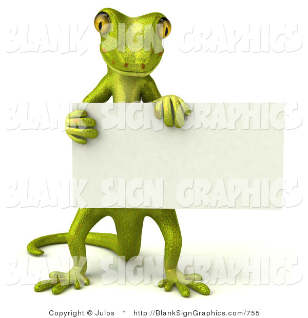 Vector Illustration of a Gecko Character Holding a Blank White Sign