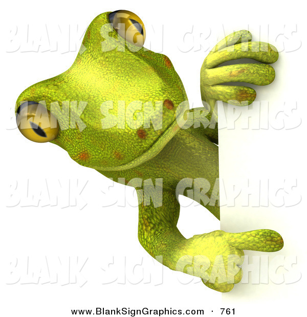 Vector Illustration of a Gecko Character Looking Around and Pointing at a Blank White SignGecko Character Looking Around and Pointing at a Blank White Sign