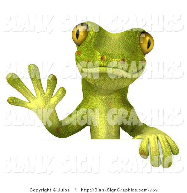 Vector Illustration of a Gecko Character Waving and Standing Behind a Blank White Sign