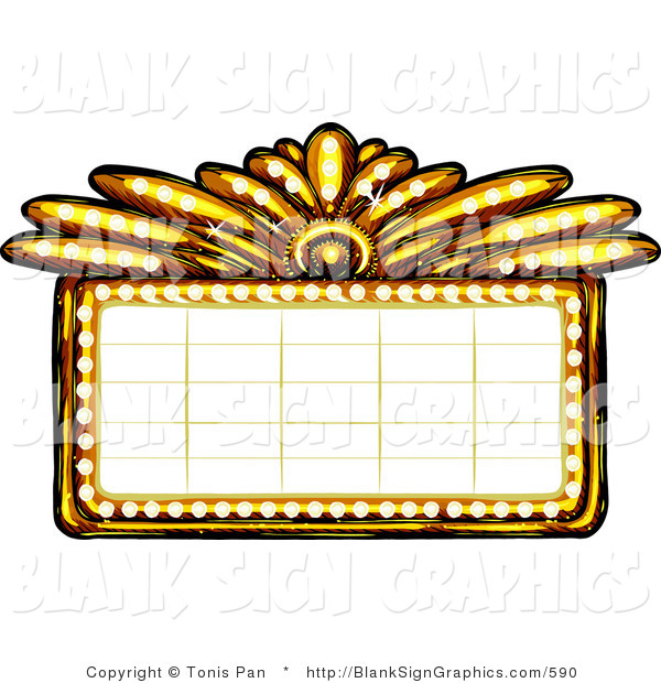 Vector Illustration of a Gold Casino or Theater Marquee Sign