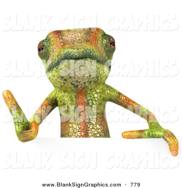 Vector Illustration of a Green Chameleon Lizard Character Giving the Thumbs up and Standing Behind a Blank Sign