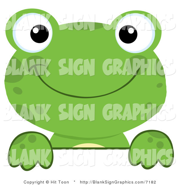 Vector Illustration of a Green Frog Looking over a Blank Sign