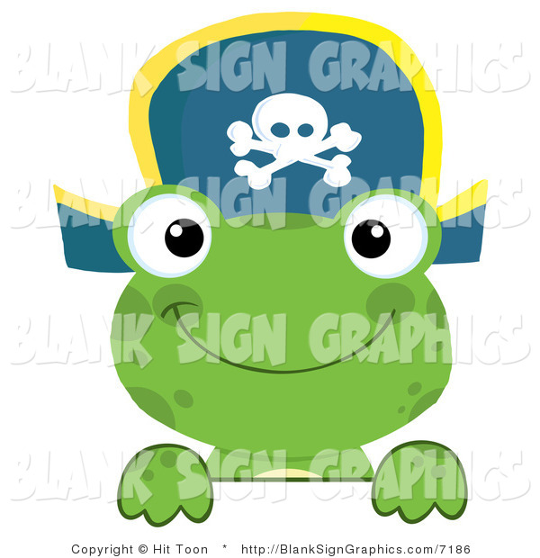 Vector Illustration of a Green Frog Pirate Looking over a Blank Sign
