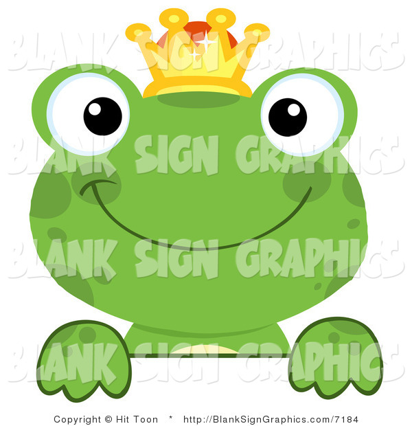 Vector Illustration of a Green Frog Prince Looking over a Blank Sign