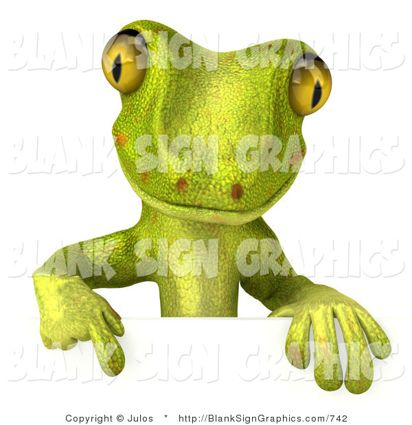 Vector Illustration of a Green Gecko Character Pointing down at and Standing Behind a Blank Sign