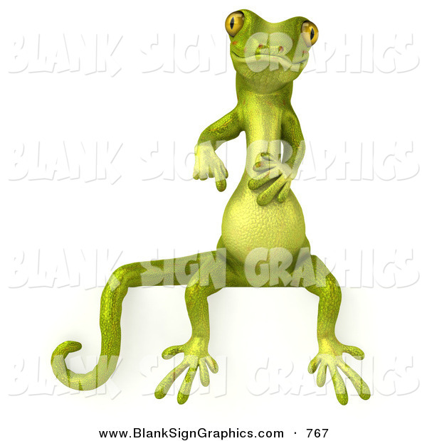 Vector Illustration of a Green Gecko Character Sitting on and Pointing down at a Blank SignGreen Gecko Character Sitting on and Pointing down at a Blank Sign