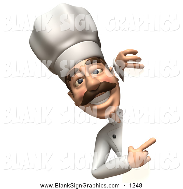 Vector Illustration of a Grinning 3d Chef Character Looking Around a Blank Sign