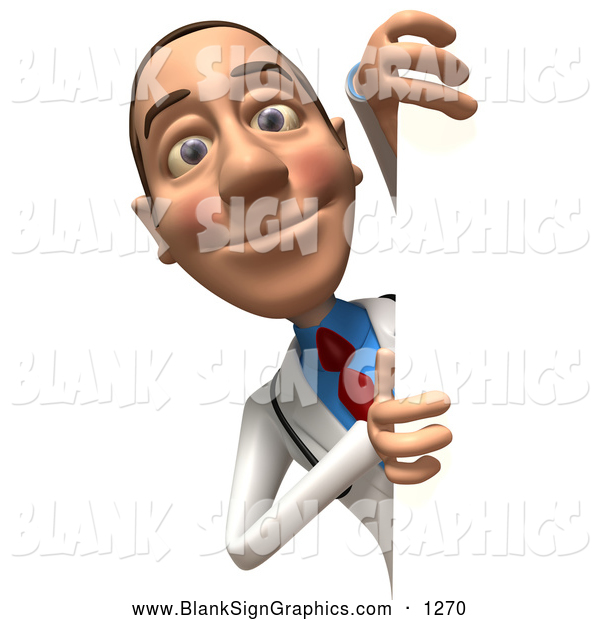 Vector Illustration of a Grinning 3d White Male Doctor Character Looking Around a Blank Sign