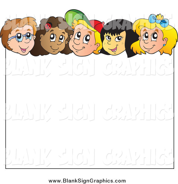 Vector Illustration of a Group of Children over a Blank Sign