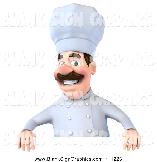 Vector Illustration of a Happy 3d Chef George Character Standing Behind a Blank Sign