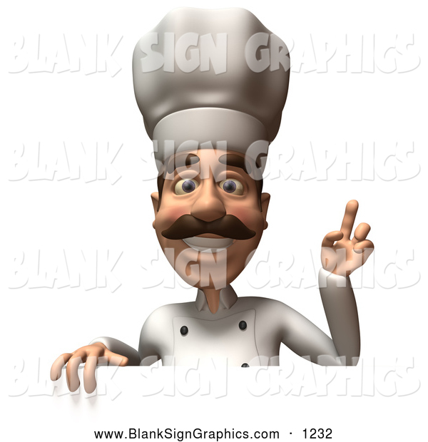 Vector Illustration of a Happy 3d Chef Henry Character Standing Behind a Blank Sign