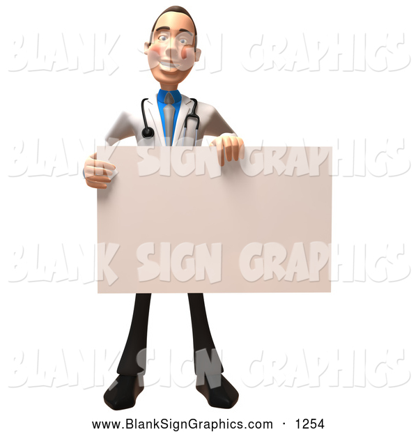Vector Illustration of a Happy 3d White Male Doctor Character Holding up a Blank Sign