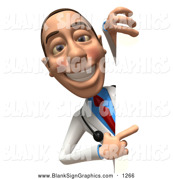 Vector Illustration of a Happy 3d White Male Doctor Character Looking Around a Blank Sign