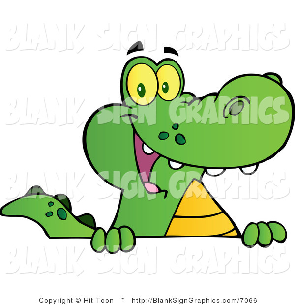 Vector Illustration of a Happy Alligator Smiling over a Blank Sign Board