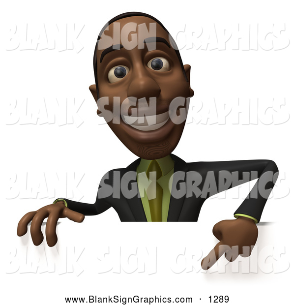 Vector Illustration of a Happy and Outgoing 3d Black Businessman Character Pointing down and Standing Behind a Blank Sign