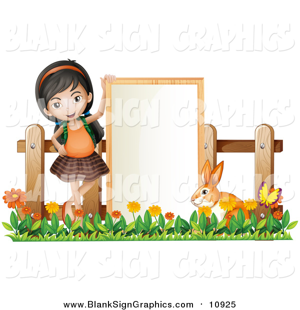Vector Illustration of a Happy Asian Girl with a Bunny Rabbit and Sign