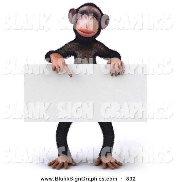 Vector Illustration of a Happy Chimp Character Pointing to and Holding a Blank Sign