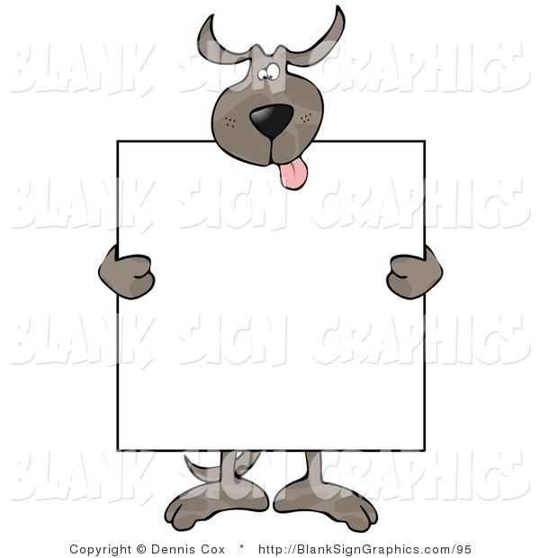 Vector Illustration of a Happy Dog Holding a Blank Sign over His Body