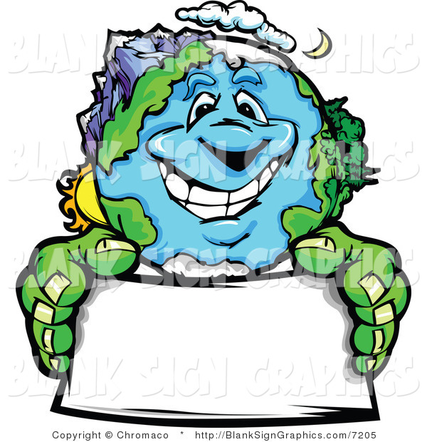 Vector Illustration of a Happy Earth Holding a Blank Sign