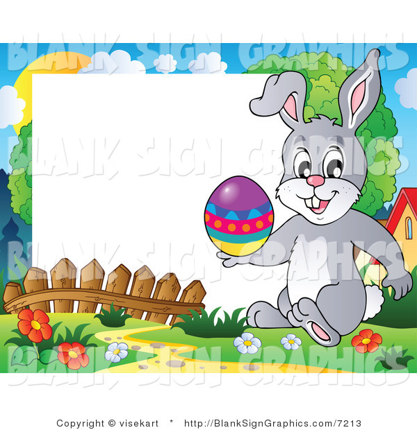 Vector Illustration of a Happy Easter Bunny Holding an Easter Egg with a Blank Sign
