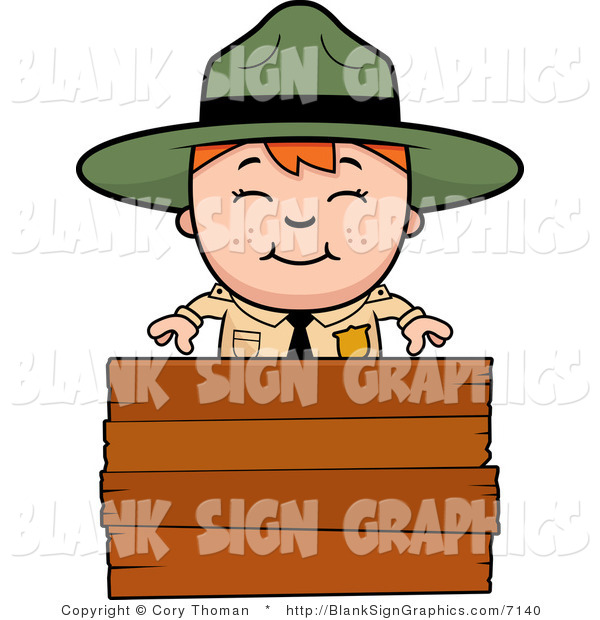 Vector Illustration of a Happy Forest Ranger Boy over a Blank Wood Sign