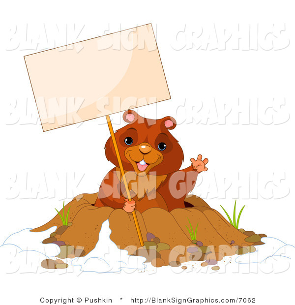 Vector Illustration of a Happy Groundhog Waving and Holding a Blank Sign over His Den