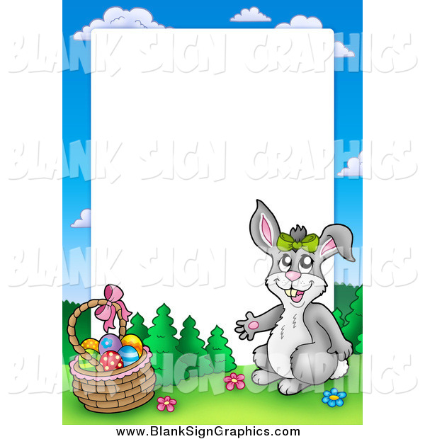 Vector Illustration of a Happy Rabbit by an Easter Basket Frame Around White Space
