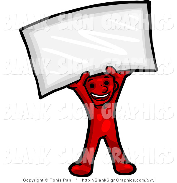Vector Illustration of a Happy Red Person Holding a Blank Sign