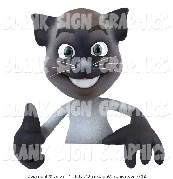Vector Illustration of a Happy Siamese Pussy Cat Character Giving the Thumbs up and Standing Behind a Blank Sign
