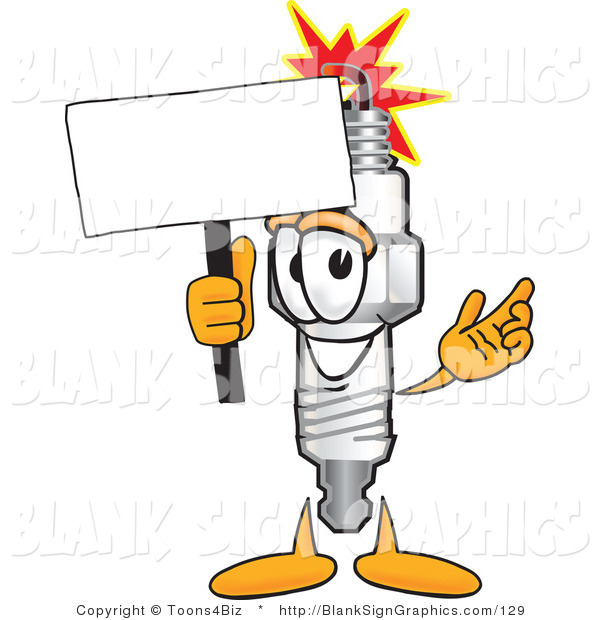 Vector Illustration of a Happy Spark Plug Holding a Blank Sign and Waving