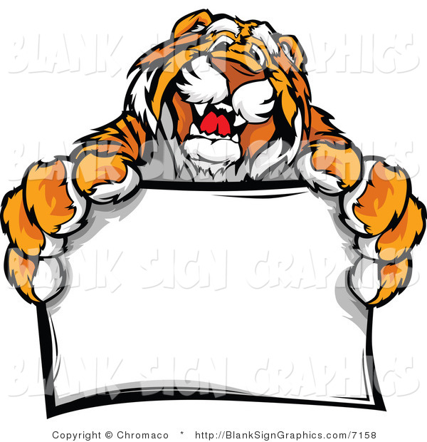 Vector Illustration of a Happy Tiger Mascot Holding a Blank Sign