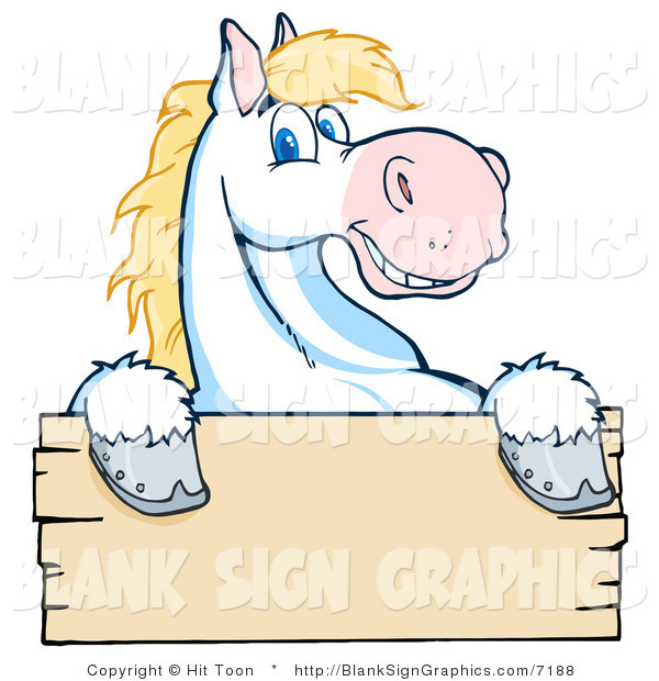 Vector Illustration of a Happy White and Blond Horse over a Blank Wooden Sign